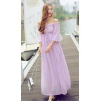 Buy cheap New Women's Off Shoulder Chiffon Long Maxi Dress from wholesalers