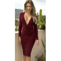 Buy cheap Sexy Women's Plunge Neck Back Open Pencil Dress from wholesalers