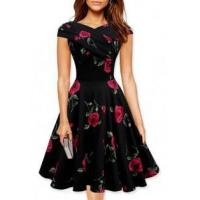 Buy cheap Vintage Women's Off Shoulder Floral A-Line Dress from wholesalers