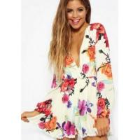 Buy cheap Fashion Women's V-Neck Floral Print Overall Romper product
