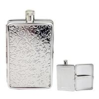 China stainless steel hip flask with cigarette case on sale