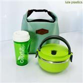Stainless steel lunch box with handle