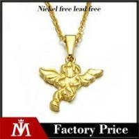 Simple design stainless steel gold pendant jewelry angel wing necklace for women Manufactures