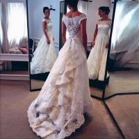 Buy cheap 2017 Vintage Capped Sleeves Audrey Hepburn Lace A-line Wedding Dress with Tiers Train product