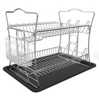 IZLIF 2-Tier Dish Rack Set and Drainboard with Removable Utensil Cutlery Cup,Chrome Finish