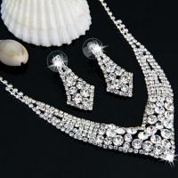 Silver Plated Rhinestone Necklace Earrings Jewelry Set V-shaped MODE