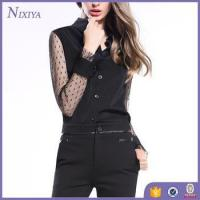 Buy cheap Long Sleeve Lace black blouse, Button chiffon tops, Office Lady Wear Blouse product