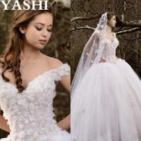 Cap Sleeves Puffy Bridal Ball Gown Crystal Flowers Wedding Dresses Wd99