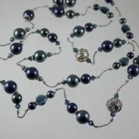 Buy cheap Necklaces Shades of Blue Silk Swarovski Crystal Necklace N578 product