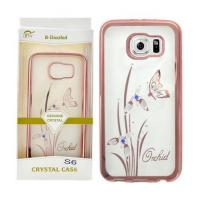 China Samsung Galaxy S6 / Rosegold Orchid & Butterfly TPU B-Dazzled Protector on sale