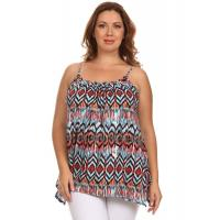 Shiba Spaghetti Strap Cami Top - BLUE ORANGE IKAT