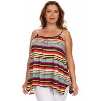 Shiba Spaghetti Strap Cami Top - PURPLE RED YELLOW STRIPES