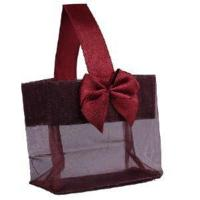 """Buy cheap Burgundy Sheer Tote with Satin Handle & Bow (3.25"""" x 3.25"""" x 2""""), 12 bags SHTOTE-BU-D product"""