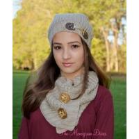 Buy cheap Designer Knit Equestrian Scarf and Hat Set - TAN product