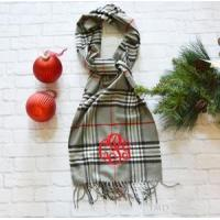 Buy cheap Monogrammed Plaid Scarf - Gray Black & Red product