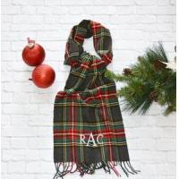 Buy cheap Monogrammed Plaid Scarf - Charcoal Red & Green product